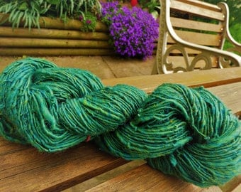 SALE Handspun yarn - Unknown fibre but probably Merino - 80 grams - blend of mid green and turquoise