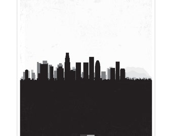 Los Angeles - City Skyline Distressed Poster Print
