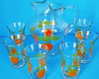 Vintage Orange Juice Set, Pitcher and Six Glasses