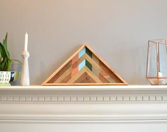 Triangle wood art, decor, lath, brown/copper/green/gray/teal, pine, cedar, 24in hypotenuse