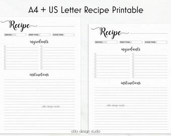 Recipe Planner, Recipe Book, A4 Printable, Recipe Journal, Recipe Binder, Recipe Card, A4 Recipe, A4 Binder, Recipes, Printable Recipe