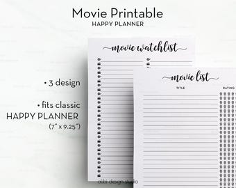 Movie Planner, Happy Planner, Planner Printable, Movie Tracker, MAMBI, Planner Inserts, Movie Watch list, Movie to watch, The Happy Planner