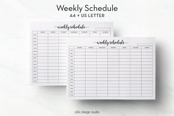 Weekly Schedule Hourly Planner Weekly Organizer A4