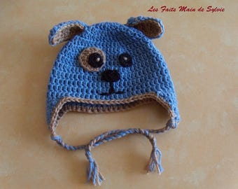 "Beanie Baby dog ""Puppy hat"" 3 to 6 months to crochet"