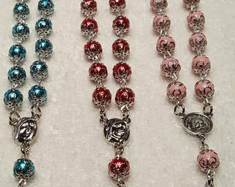 Capped car rosaries. Rear view mirror rosary. Pocket rosary. 2 decade rosary