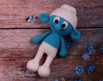 Smurfs plush toy smurf amigurumi smurfs crochet smurf stuff toy smurf gift for baby stuffed toys stuffed plush toys