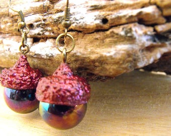 real acorn, woodland jewellery, autumn jewelry, organic wooden, natural gift, dangle earrings, rustic, cute dainty, gift for her, glittering