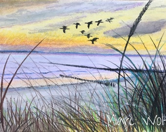 Vogelflug, Pastellmalerei