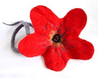 Red Felt Poppy Flower, Textile Flower, Handmade felt Artificial flower, Red and Grey Home decoration,