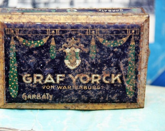 Art Nouveau Tin. Vintage 1920s German Duke Cigarettes Tin/Faded Black Gold Patina Vintage Tin/German Ad Cigarette Tin/Nouveau Design Tin
