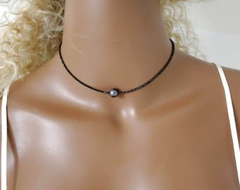 Black spinel necklace Freshwater Pearl gemstone necklace black spinel