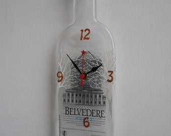 BELVEDERE Vodka recycled wall clock - Recycled melted BELVEDERE bottle clock - Gift  for men