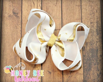 Gold feather and white boutique hair bow, feather bow, gold bow, boutique bow, girl hair bow, girl bow, fall hair bow, spring hair bow