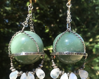 Handmade Aventurine, moonstone and sterlings silver ear weights~heavy ear weights~OOAK ear weights~