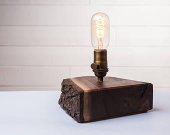 Asymmetrical Walnut Edison Table Lamp, Desk Lamp, Accent Lamp, Tree Bark Lamp, Live Edge Lamp