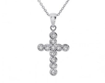 0.50 Carat Diamond Cross Pendant 14K White Gold