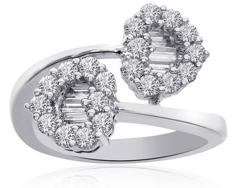 1.25 Carat Round Pave, Baguette Diamond Heart Shaped Bypass Ring 14K White Gold