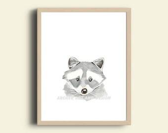Printable Watercolor Racoon