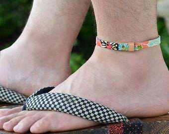 Japanese kimono Anklet. Genuine leather covered in traditional japanese fabric. Mens jewelry. Womens Jewelry. Gift. Japanese jewelry. Japan