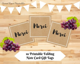 "Printable mini ""merci"" thank you cards, kraft small thank you card, birthday party bridal shower wedding thank you notes"