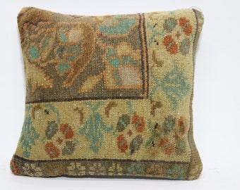 Bohemian Turkish Rug Carpet Bedroom Pillow Cushion Cover 16x16 Vintage Carpet Pillow Ethnic Pillow Cushion Cover SP4040-1805
