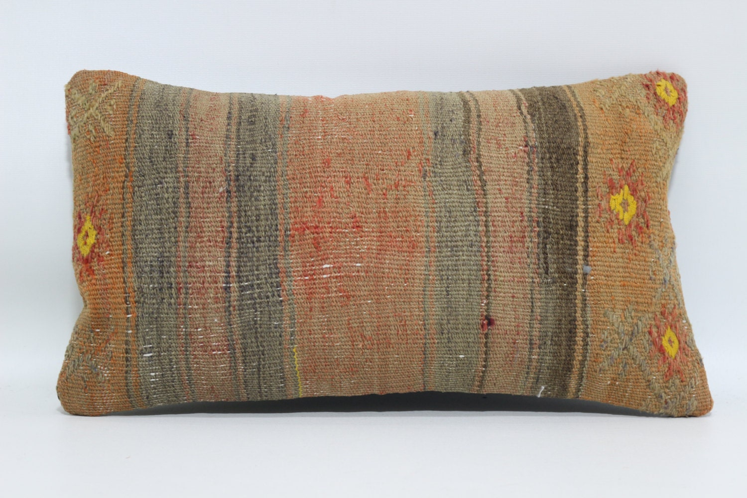 throw pillow 10x18 small pillow muted color kilim pillow