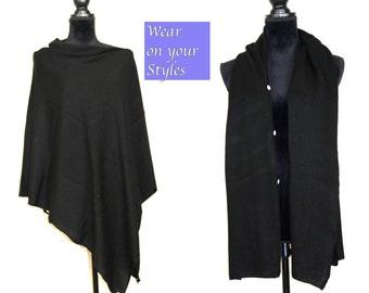 Cashmere Poncho Black Cashmere Cape Pashmina Scarf Cashmere Elegant Wrap Scarf Button Poncho Cashmere