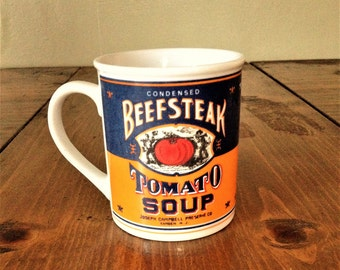 Retro Style 1994 Campbells Soup BeefSteak Tomato Soup Mug Cup Coffee Collectible Blue Orange Red Kitchen Drink Vegetable DrinkWare