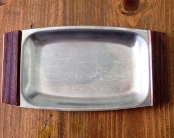 MidCentury Stainless Steel Wood Ashtray Key Jewelry Tray Rings Trinket Cigar Made in Japan Dish