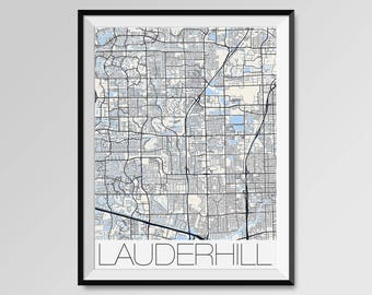 LAUDERHILL Florida Map, Lauderhill City Map Print, Lauderhill Map Poster, Lauderhill Wall Art, Lauderhill gift, Custom city Personalized map