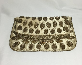 Vintage Cream Colored Beaded Embroidered Evening Bag Clutch Purse