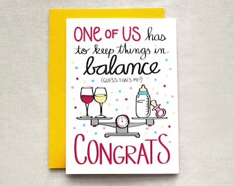 Funny Baby Shower Card, New Baby Card, Baby Congrats Card, Pregnancy Card, New Mom Card