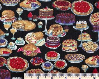 AF206 - Hoffman Fabrics - Kitchen Kitsch - DESSERTS! - Pies - Cakes - Custards - Cupcakes - Quilt Shop Quality - 100% Cotton Fabric 1994
