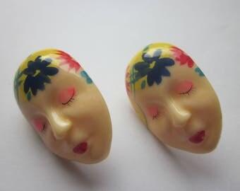 Vintage Hand Paint Plastic Earrings