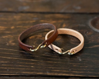 Natural Vegetable Tanned Leather Cuff with Solid Brass or Nickel Plated 'S' Clasp