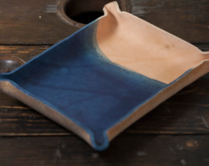 Indigo Dyed Leather Catchall Tray - Dip Dyed and Natural Back