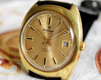 SWISS made Vintage men's watch CREATION AUTOMATIC-1960's , 25 Jewels , Swiss watch , mechanical watch, leather Watch , Mens Wrist Watch