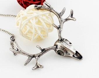 Silver Tone Deer Head Skull with Antlers or Stag's Head Skull with Antlers with long chain