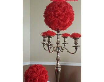 "8"" 10""12""14"" 16""18""20"" Red Wedding Kissing Ball Red Pomander Ball Red Centerpieces Red Kissing Ball Red Silk Rose Kissing Ball Red Rose Ball"