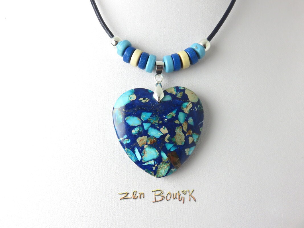 collier coeur sea sediment lapis turquoise saint valentin. Black Bedroom Furniture Sets. Home Design Ideas
