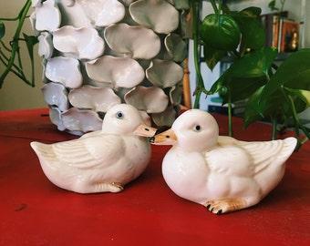Vintage White Ducks Salt + Pepper Shakers