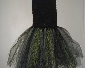 Tutu-strapless black and green stripes, one size fits 2-6 years