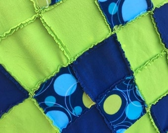 Fleece Throw Blanket Fringed Rag Style in Blues and Lime  Green (Ready to Ship!)