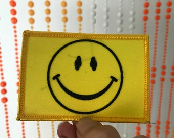 Vintage Smiley Face Rectangle Patch