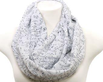 White Mathematics Pattern Infinity Scarf Print Scarf Women math scarf Summer Fall math Scarf Gift for her engineer scientist teacher nerd