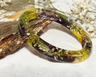 Real Flower Bangle Boho Bracelet, Inspired Jewelry Plant Bangle Gift, Botanical Flower Jewelry Gift Woman, Jewelry Women Art Bangle Floral