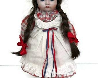 Lovely Vintage Porcelain Doll Hand Painted Face Plaid Dress with Apron