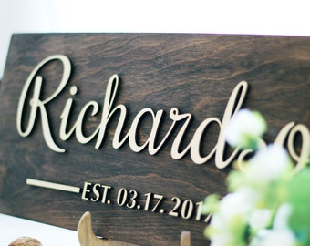 Wedding Family Name Sign Wedding gift for couple Personalized Family Name Wedding Established Sign Custom family sign Anniversary gift