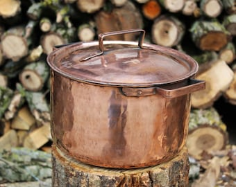 Handmade Tin Lined Copper Pot with High Sides