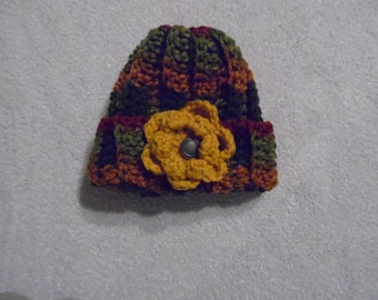 1 Very Cute Infant Small Hand Crocheted Multi Colored with Flower Baby Hat (HT 11)